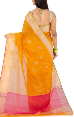 mustard yellow motif chanderi sari