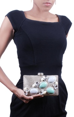 Silver and turquoise embellished clutch