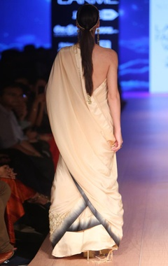 champagne with charcoal ombre sari
