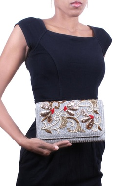 Silver and gold zardosi embroidered clutch