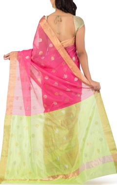 pink & leaf green motif chanderi sari