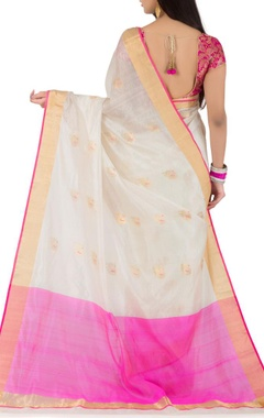 white & pink peacock chanderi silk sari
