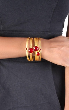 Gold plated bangles with ruby quartz