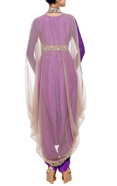 purple embroidered dhoti jumpsuit with grey net coat