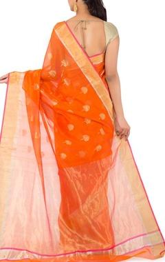 orange motif chanderi sari