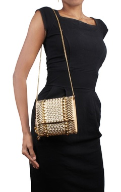 Beige & gold metal studded clutch