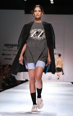 black overcoat with mesh net sleeves