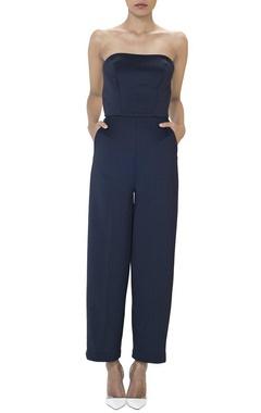 Navy blue strapless jumpsuit