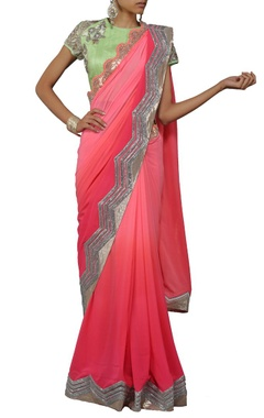 shaded pink embellished sari with mint green blouse