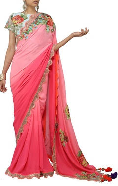 fuschia pink shaded floral applique sari