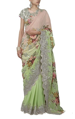 pastel pink and mint green floral applique sari