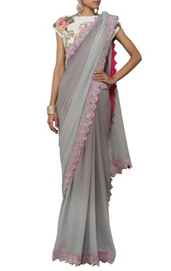 grey shaded sari with floral applique crop top