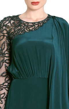 teal green embellished drape gown