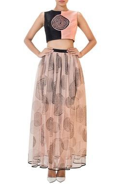 Peach and black swirl crop top