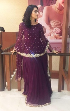 wine anarkali gown with attached cape dupatta