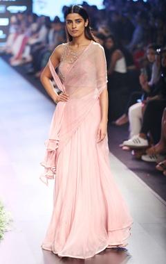powder pink chiffon pre-draped sari & corset blouse