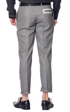 Grey colour blocked trousers