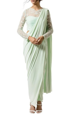 Mint floral embellished sari set