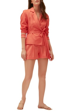 Coral twill embroidered blazer with shorts