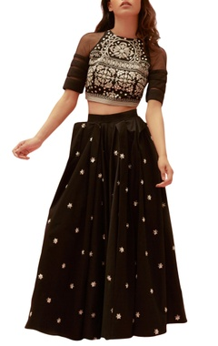 Black cotton satin embroidered long skirt