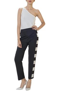 Black pants with side checks