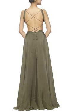 olive green silk cut out maxi dress