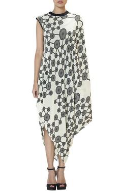Black & white swirl cowl dress