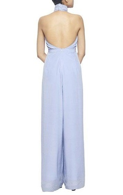 powder blue halter jumpsuit