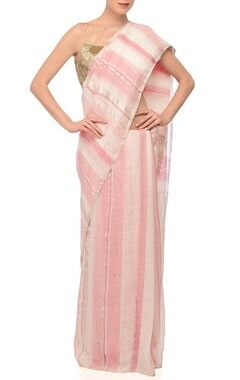 Pale pink, white & silver zari striped linen sari
