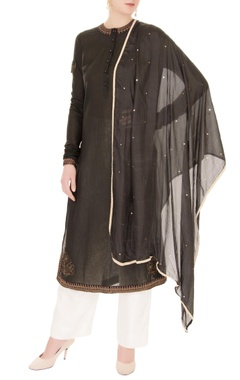 Anand Kabra Black thread embroidered kurta set