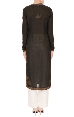 Black thread embroidered kurta set