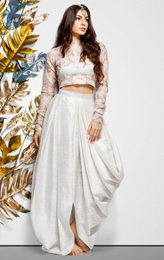 white hand embroidered crop top & skirt