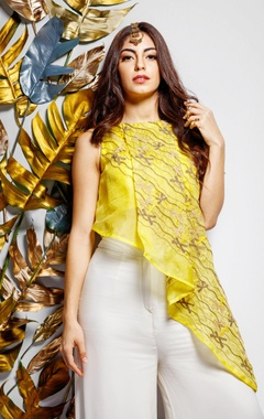 yellow pleated top & palazzos