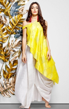 yellow asymmetric blouse & draped skirt.