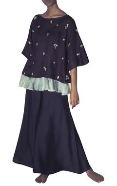 Myoho Linen floral hand embroidered blouse with palazzos