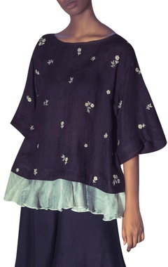 Linen floral hand embroidered blouse with palazzos