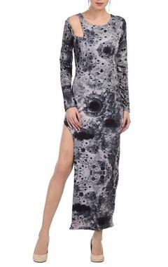 Grey moon printed high slit dress