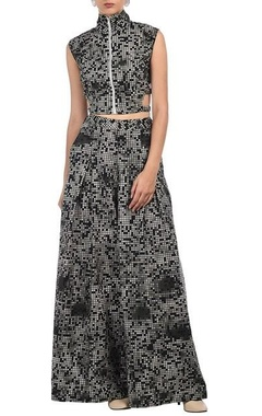 Black, grey & white pixel printed crop top with palazzos