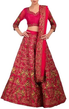 Fuschia & gold embroidered lehenga set