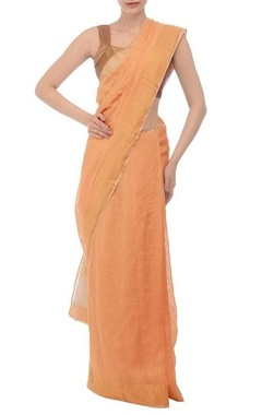 Orange gold jamdani linen sari