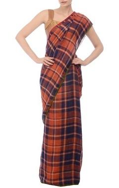 Burnt orange & navy checked linen sari