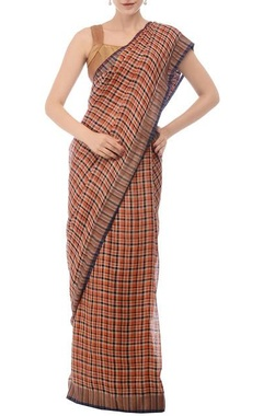 Burnt orange & navy plaid linen sari