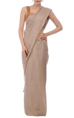 Taupe linen zari sari