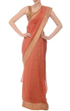 Dusky peach & orange tree motif linen sari