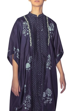 Hand block print kaftan with attached inner
