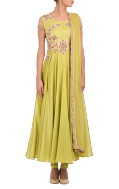 lime green & floral embroidered anarkali set