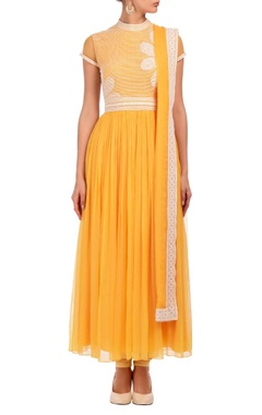 bright yellow & ivory floral lace kurta set