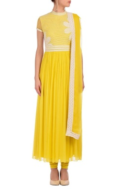 lime yellow & ivory floral lace kurta set