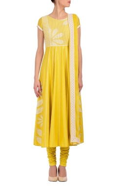 canary yellow & ivory floral printed kurta set