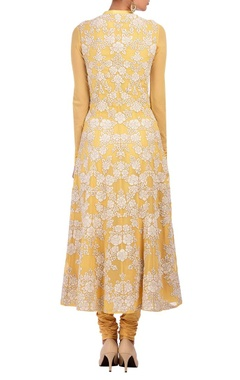 soft yellow & ivory floral applique kurta set